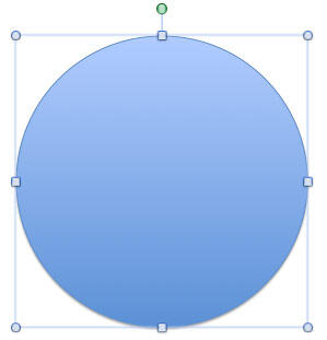 Circle shape placed on the slide