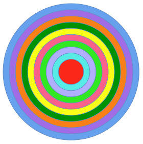 Target created using multiple circle shapes in PowerPoint 2011