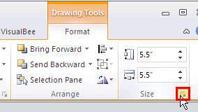 Click the dialog launcher arrow to summon the Format Shape dialog box