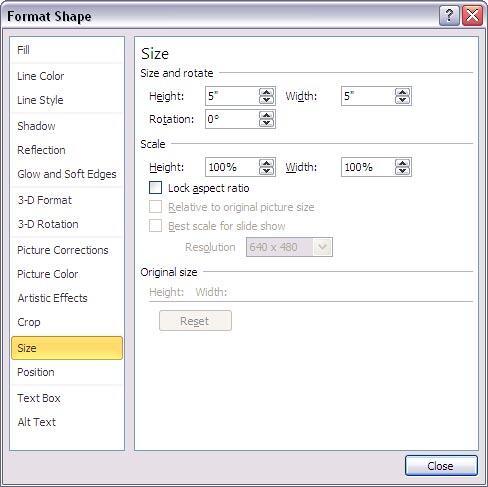 Format Shape dialog box