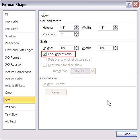 Size values changed within the Format Shape dialog box