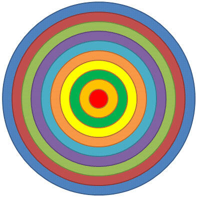 Target created using multiple circle shapes in PowerPoint 2010