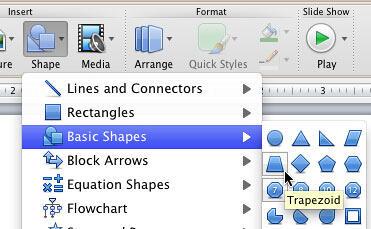 Trapezoid shape selected within Basic Shapes sub-gallery