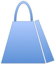 One handle placed on top of the half-done shopping bag