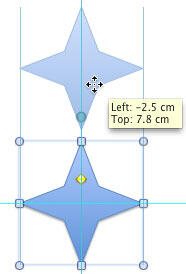 Shape copied exactly upwards at 90° (perpendicular to the original)