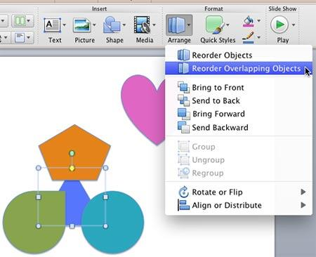Reorder Overlapping Objects option selected within the Arrange gallery
