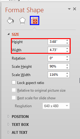 Format Shape Task Pane includes Height and Width values