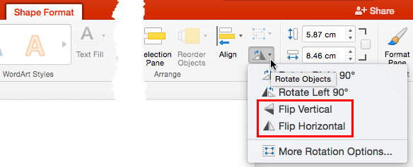 Flip options within Rotate objects drop-down gallery