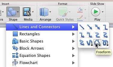 Freeform shape selected