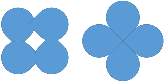 Rotation of 45 degrees applied to individual shapes (on the left) and a group (on the right)