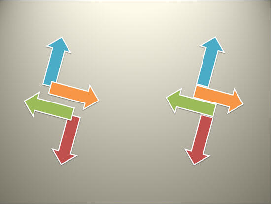 Rotation of 15% degrees applied to individual shapes (on the left) and a group (on the right)
