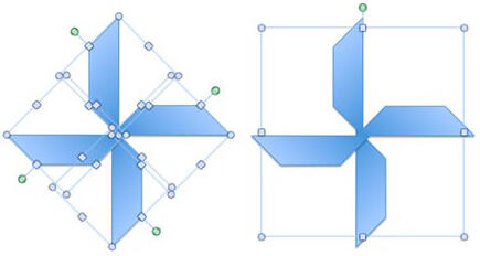 Individual shapes (left) and the same shapes within a group (right)