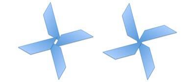 Rotation of 15% degrees applied to individual shapes (on the left) and a group of same shapes (on the right)
