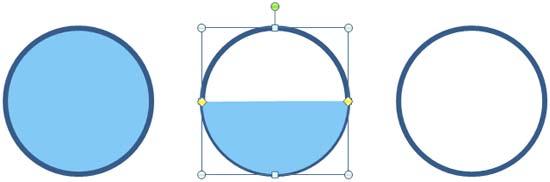 Paste semi-circle on the second circle
