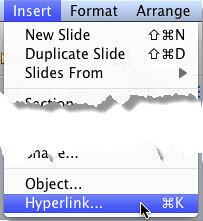 Hyperlink option selected within the Insert menu