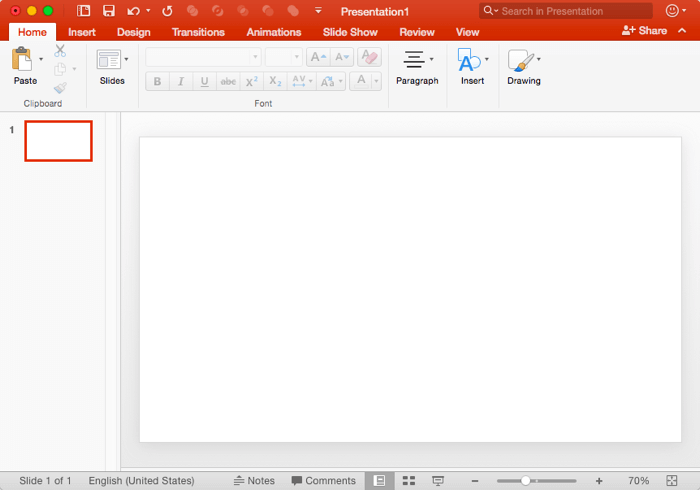 Slide with Blank layout