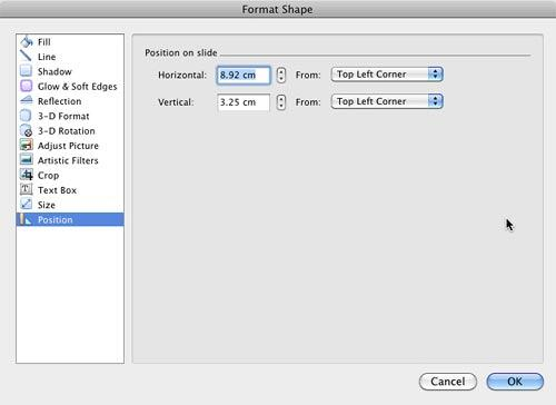 Position on slide options within the Format Shape dialog box