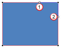 Two blue handles appear when a corner point is selected