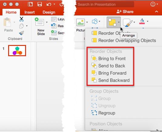 Order Objects options let you reorder slide objects