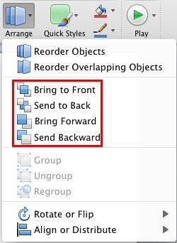 Order options let you send shapes and other slide objects back or forward