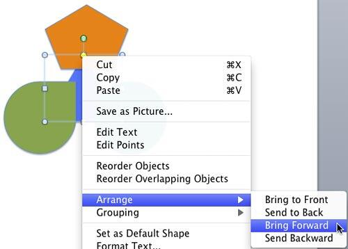 Bring Forward option to be selected to bring the selected shape one layer above