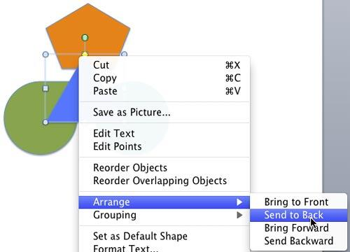 Send to Back option sends selected shapes behind all other overlapping slide objects