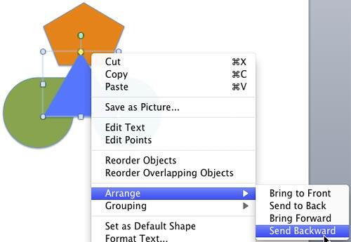 Send Backward option sends the selected shape one layer below