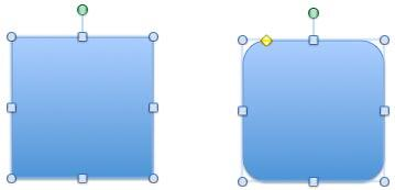 Shapes have several handles, and green rotation handle