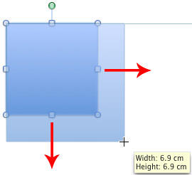 Shift drag to maintain the width : height proportion while resizing a shape