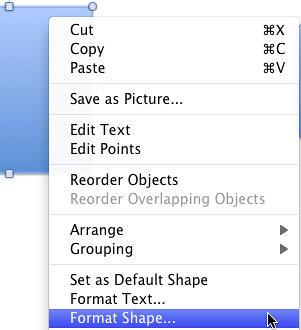 Format Shape option selected