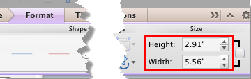 Height and Width options within the Format tab