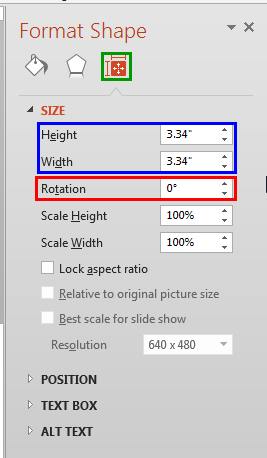 Rotation option within the Format Shape Task Pane