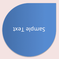 Text within shape rotated to 180°
