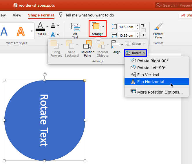 rotate text in microsoft powepoint