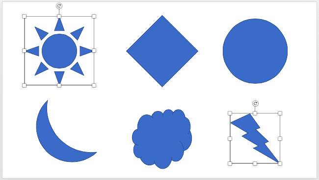 Two shapes selected on the slide