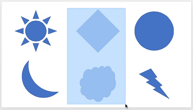 Draw a marquee over the shapes to select them