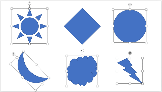 Slide with all shapes selected except a single deselected shape