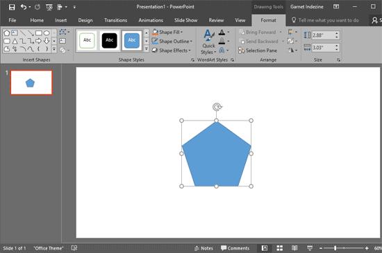 A single shape selected on the slide