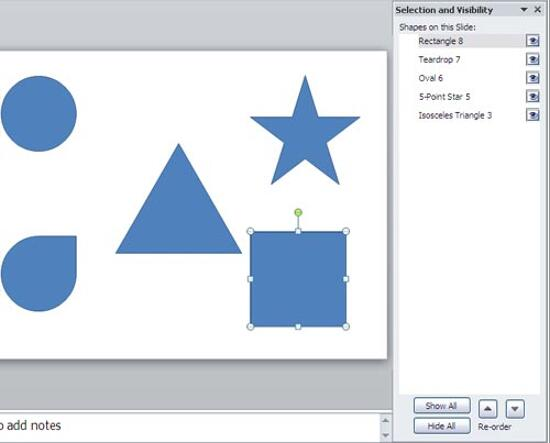 Shape selected in task pane and on the slide