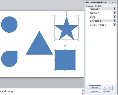 Two shapes selected in task pane and on the slide