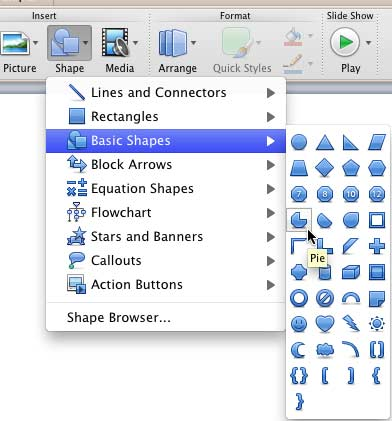 Pie shape selected in the Basic Shapes sub-menu of the Shape gallery