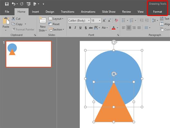 Drawing Tools Format tab