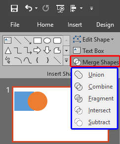 Merge Shapes drop-down gallery