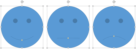 Smiley Face shape is changed to a straight face and a sad face by dragging the yellow round handle