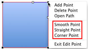 Three point options available in PowerPoint 2011
