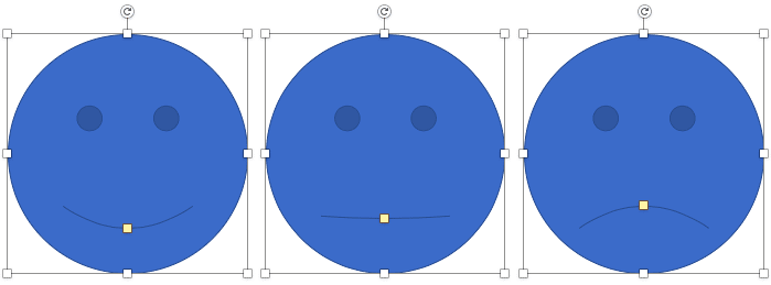 Smiley Face shape is changed to a straight face and a sad face by dragging the yellow square handle