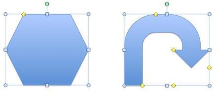 The Hexagon has one yellow diamond handle and the U-turn arrow has five of them