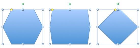 A Hexagon can be changed to both a rectangle and a diamond