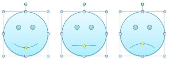 Smiley Face shape is changed to a straight face or a sad face by dragging the yellow diamond handle