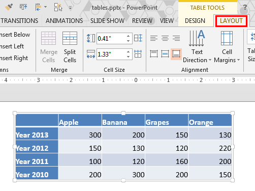 Table Tools Layout tab of the Ribbon